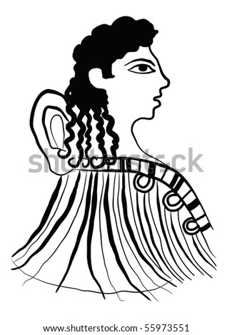 illustration of a ancient Minoan woman in black outline