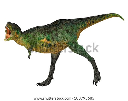Illustration of a Aucasaurus (dinosaur species) isolated on a white background - stock photo