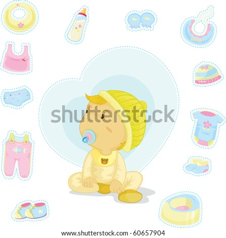 illustration of a baby on a white background - stock photo