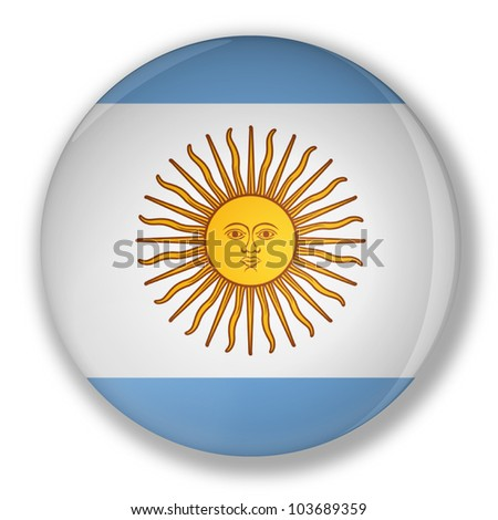 Illustration of a badge flag of Argentina with shadow - stock photo