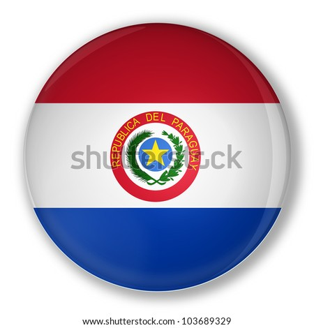 Illustration of a badge flag of Paraguay with shadow - stock photo