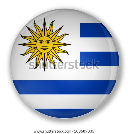 Illustration of a badge flag of Uruguay with shadow - stock photo