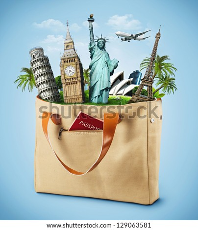 illustration of a bag full of famous monument with passport. traveling - stock photo