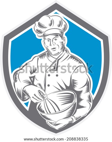 Illustration of a baker chef cook holding a mixing bowl viewed from front set inside shield crest done in retro woodcut style on isolated background. - stock photo