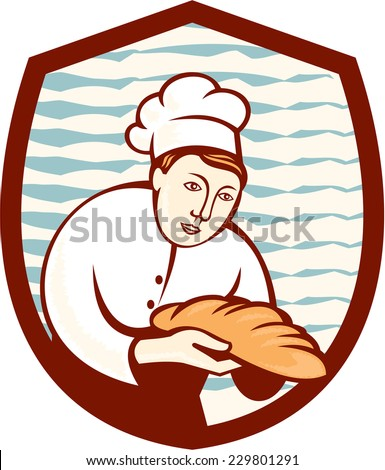Illustration of a baker chef cook holding loaf of bread set inside shield done in retro style. - stock photo