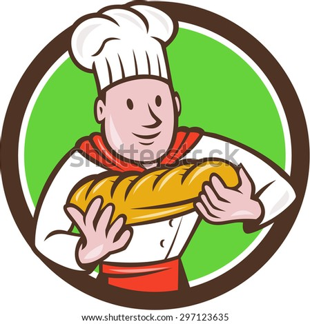 Illustration of a baker chef cook holding loaf of bread viewed from the front set inside circle on isolated background done in cartoon style.