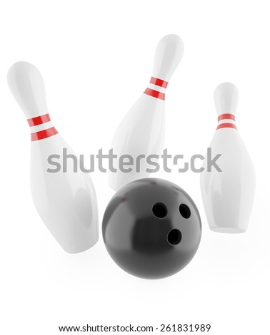 Illustration of a ball hitting the pins isolated on white background. 3d illustration high resolution