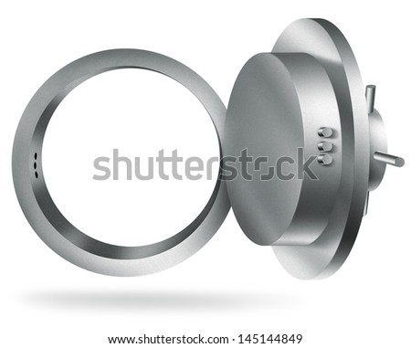 illustration of a bank vault isolated on white background - stock photo
