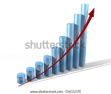 Illustration of a bar chart showing everything is doing well - stock photo