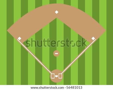 Illustration of a baseball diamond (an overhead view) - stock photo