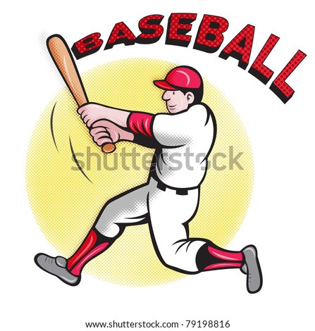 illustration of a baseball player batting cartoon style with halftone screen with words Baseball - stock photo