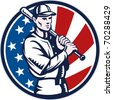 illustration of a Baseball player holding bat with american stars and stripes flag in background set inside circle done in retro woodcut style. - stock vector