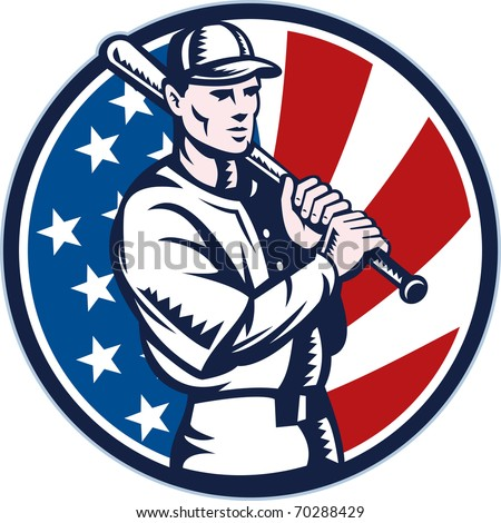 illustration of a Baseball player holding bat with american stars and stripes flag in background set inside circle done in retro woodcut style. - stock photo