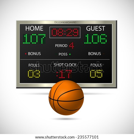 Illustration of a basketball and scoreboard isolated on a white background. - stock photo