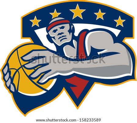 Illustration of a basketball player holding ball facing front set inside shield crest done in retro style on isolated background.