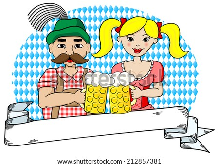 illustration of a bavarian couple with oktoberfest beer and banner - stock photo