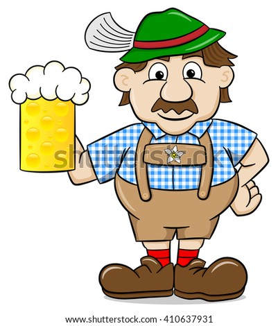 illustration of a bavarian in leather pants with beer mug - stock photo
