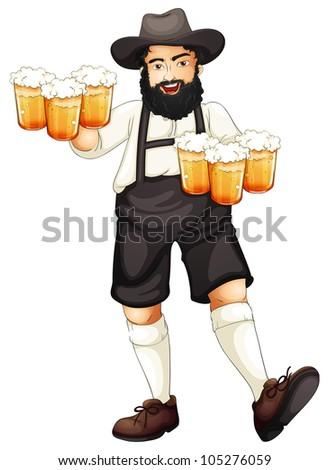 Illustration of a Bavarian man at oktoberfest - stock photo