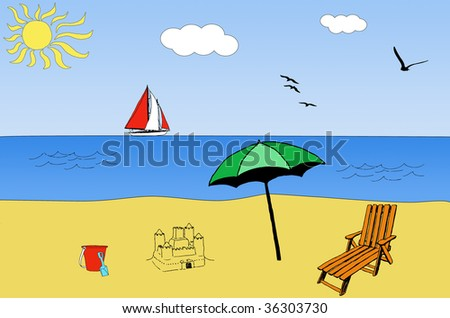 illustration of a beach in summer, with a boat in the sea - stock photo