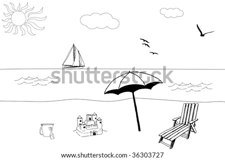 illustration of a beach in summer, with a boat in the sea. Black and white version - stock photo