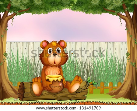 Illustration of a bear above a trunk holding a honey