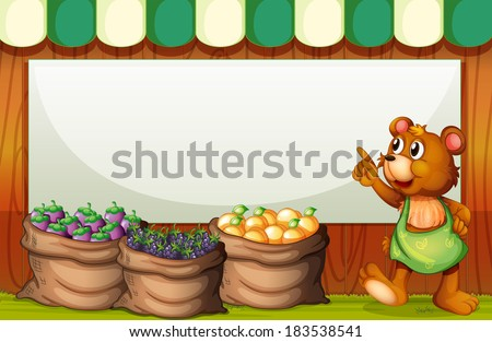 Illustration of a bear at the market in front of the empty whiteboard - stock photo