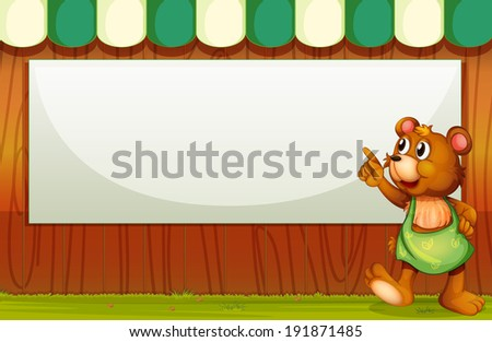 Illustration of a bear beside the empty template - stock photo