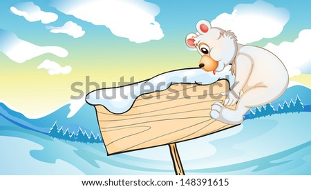 Illustration of a bear beside the empty wooden signboard - stock photo