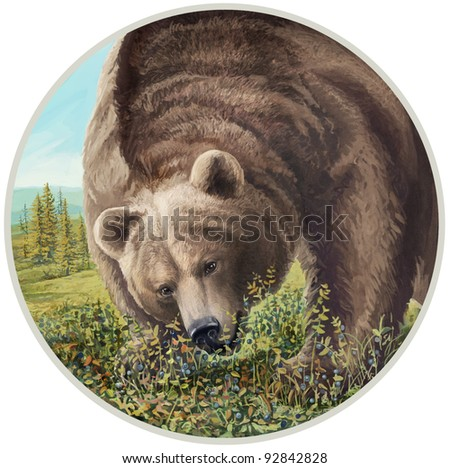 illustration of a bear chewing berries. - stock photo