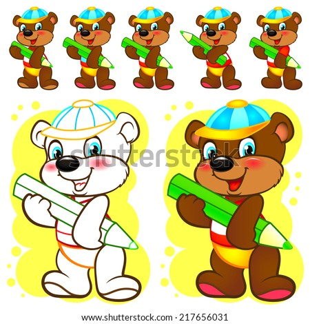 Illustration of a bear cub in a cap with a pencil.
