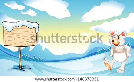Illustration of a bear near the wooden signboard - stock photo