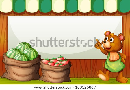 Illustration of a bear pointing the empty signboard at the market - stock photo