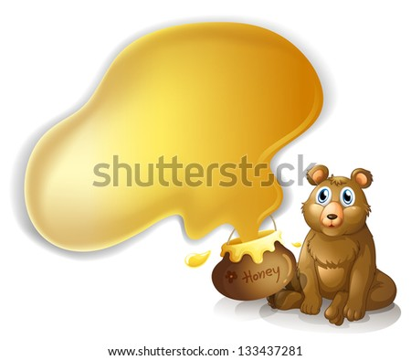Illustration of a bear with a pot of honey on a white background