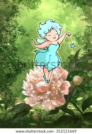 Illustration of a beautiful fairy on a white flower - stock photo