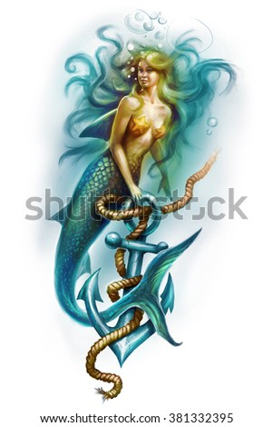 Illustration of a Beautiful mermaid girl