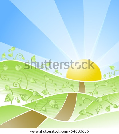 Illustration of a beautiful sunny day scenery with floral swirly vines and road leading towards the horizon. - stock photo