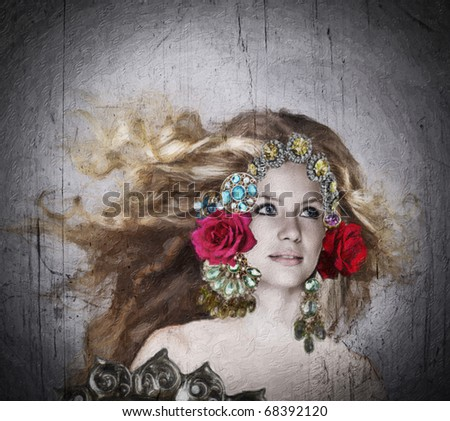 illustration of a beautiful woman with long blowing hair and ornate jewelry crown with roses on grunge oil painting texture - stock photo