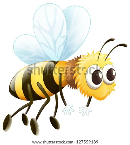 Illustration of a bee flying on a white background - stock photo