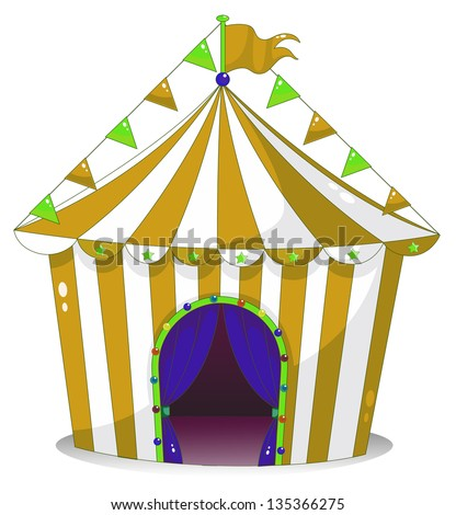 Illustration of a big circus tent on a white background
