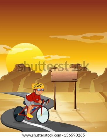 Illustration of a biker at the desert with an empty signboard - stock photo