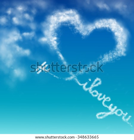 "Illustration of a biplane forming the words ""I love you"" on a blue sky"