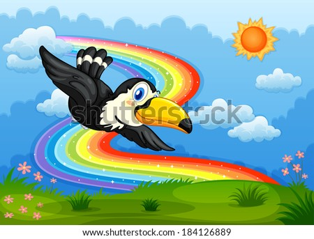 Illustration of a bird in the sky with a rainbow - stock photo