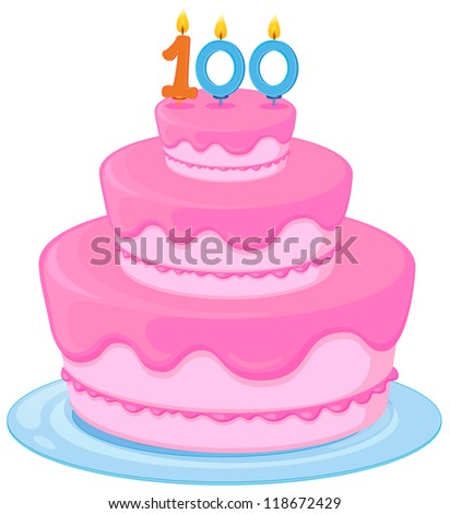 illustration of a birthday cake on a white background - stock photo