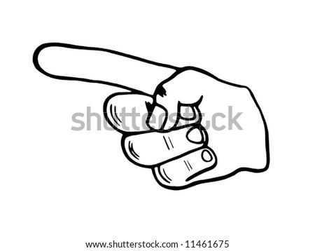 Illustration of a black and white Pointing hand