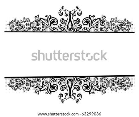 Illustration of a black floral border - stock photo