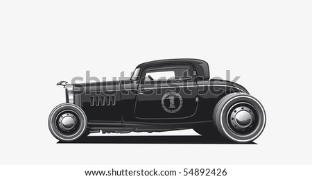 Illustration of a black hotrod - stock photo
