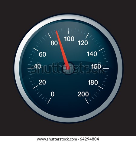 illustration of a black speedometer on black background