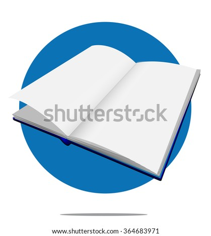Illustration of a blank book with blue circle background - stock photo