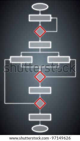 illustration of a blank flowchart - stock photo