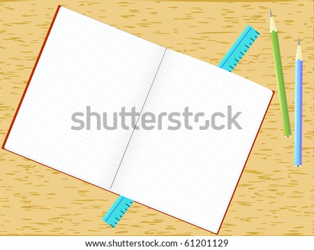 Illustration of a blank notepad and pencils - stock photo